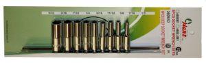 Вложки к-т 9ч. 1/4'' 6-стен удължени 5/12-1/2 инчови Dura Chr-V Hans Tools