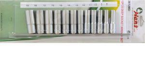 Вложки к-т 12ч. 3/8'' 6-стен удължени 8-19мм Dura Chr-V Hans Tools