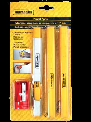 Моливи дърводелски и острилка к-т 7бр TMP