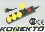 Разклонител 4 гнезда с IP 44, ключ и кабел, влагоустойчив KONEKTO